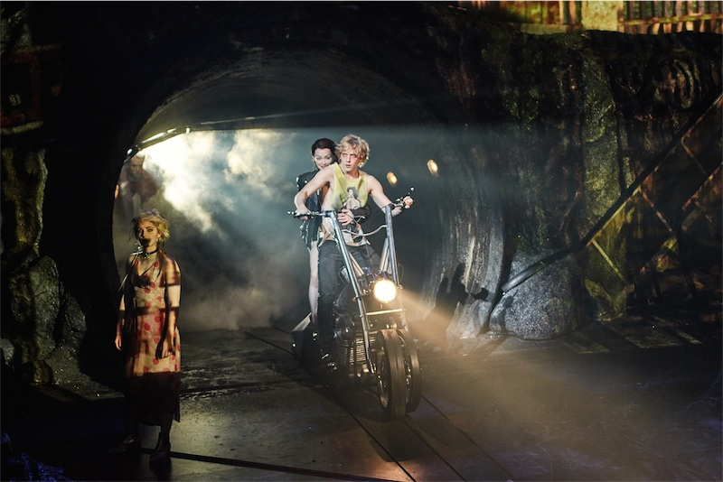Eve Norris as Scherzzo, Christina Bennington as Raven & Andrew Polec as Strat in BAT OUT OF HELL - THE MUSICAL, credit Specular