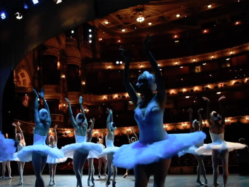 Dancers from St Petersburg Ballet Theatre rehearse Swan Lake on stage at the London Coliseum