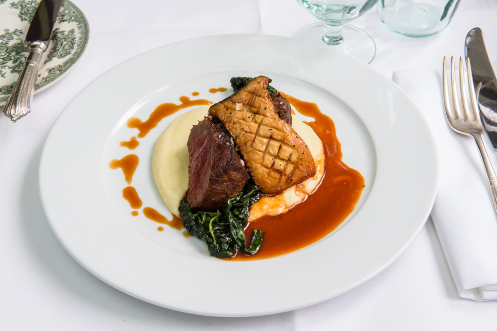 Fillet of beef, celeriac purée, cavolo nero, king oyster, red wine and truffle jus; American Bar Restaurant, London Coliseum Restaurant © Karen Hatch
