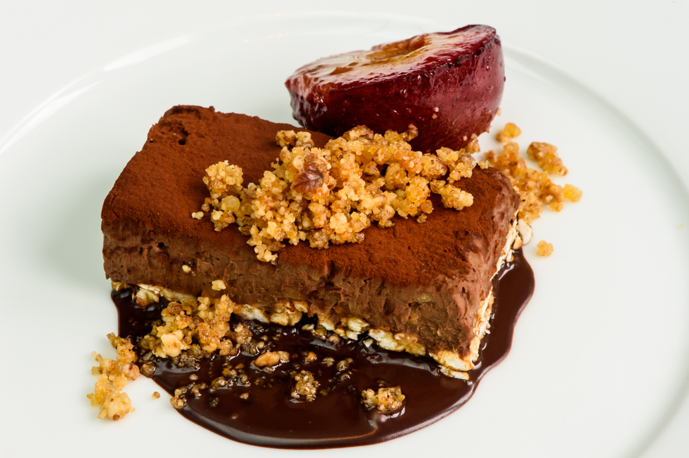Rich chocolate mousse, Maple rice cake, walnut brittle, caramelized plum; American Bar Restaurant, London Coliseum © Karen Hatch