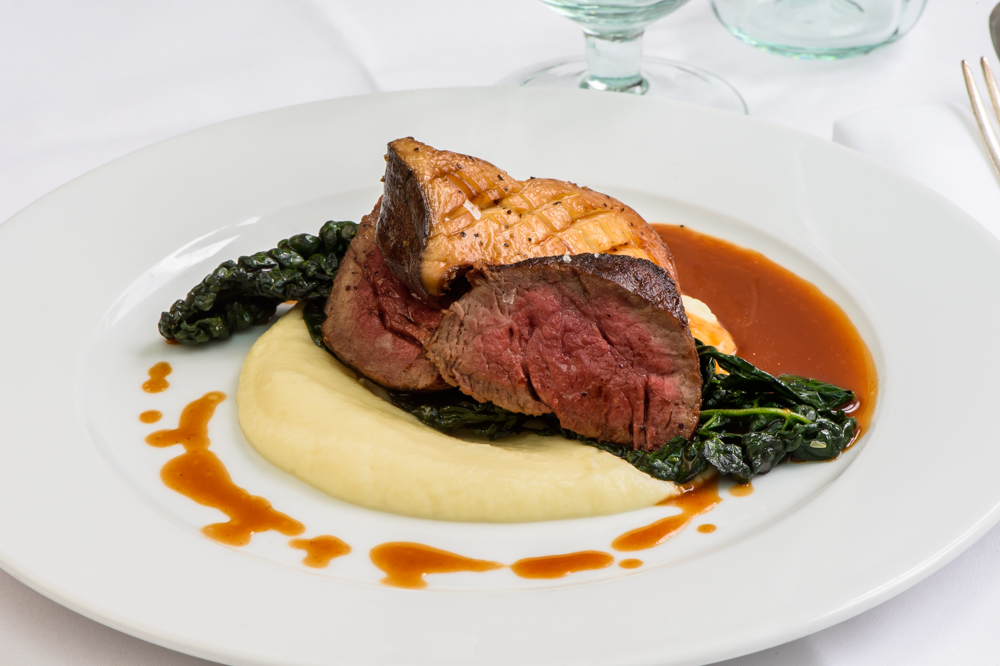 Fillet of beef, celeriac purée, cavolo nero, king oyster, red wine and truffle jus