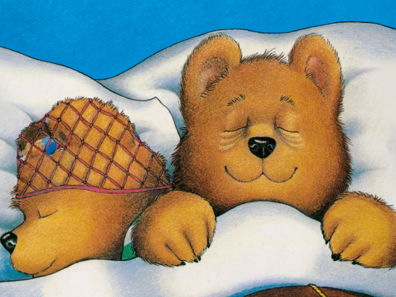 Two cartoon Bears in bed